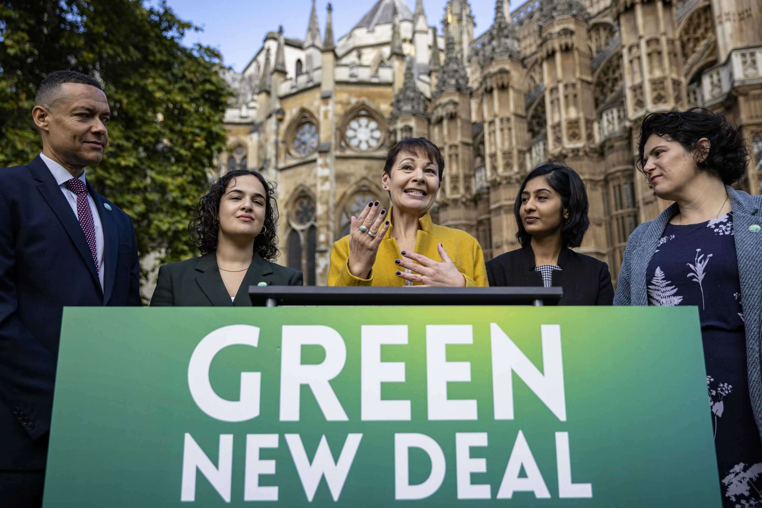 Caroline Lucas and colleagues speak at the launch of the Green New Deal Bill